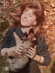 Flashback Pic - Me and my German Shepherd puppy, Banquo, back in the day (circa the 80s!).