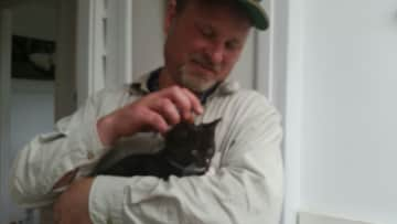 David with our friend's cat Rick