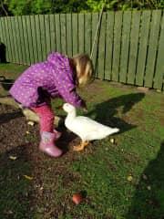Chloe petting Jemima.