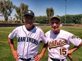 Robert with Bill Nye - playing 'old guy' baseball!