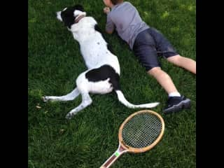 At 52 pounds she stretches out on the grass with my grandson.