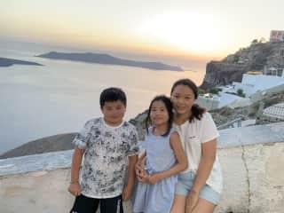 Beautiful sunset in the Oia