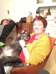 Our dog Lorca with my mother