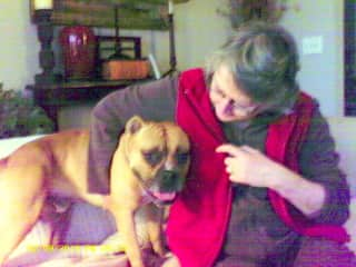 Sue with Charlie, one of several dogs we fostered.