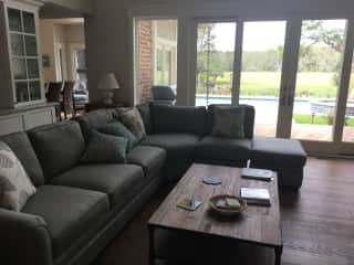 Greatroom with view of backyard