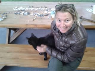 Inge with cat.