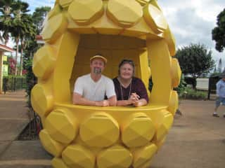 Our fiftieth state! Hawaii. Everyone should have their picture in a giant pineapple.