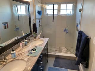 Large two-sink master bath with walk-in shower