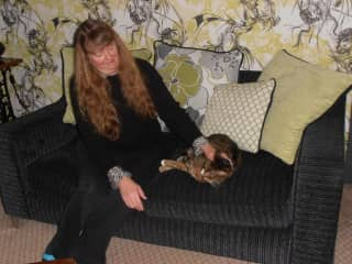 Debbie loving on 18 year old Henry in England.  We returned to visit him when he was 21, he happily remembered us.