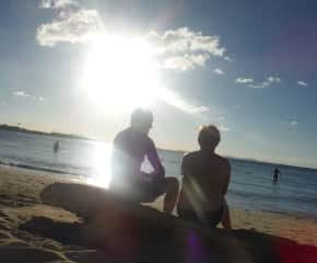 Sunset chat after a busy day during our Australian travels!