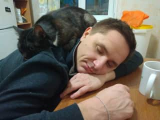 Slava and our sweet cat Sherry