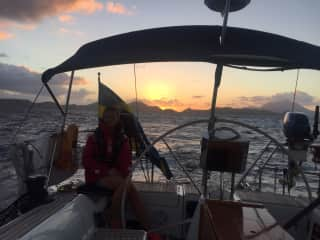 Helen sailing out of Nevis in the Caribbean