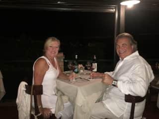 My husband Bob and I in la mole in Tuscany Italy