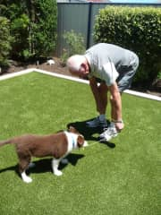 John and Ollie - our granddaughter's dog