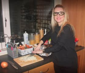 My other main passion is cooking - wearing onion-cutting goggles to prepare Christmas Eve dinner!