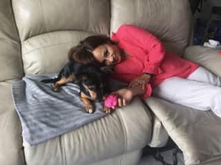 Nereyda with Bluebelle at a sit in Vero Beach, Fl