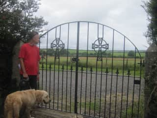 Mark with Seve, looking out the gate at Advent Church, Cornwall, UK