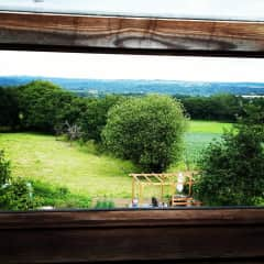 View from the attic bedroom of the garden and surrounding fields.