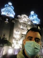 In front of the main church in Miraflores neighborhood in Lima, Peru.  August 2020