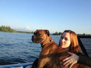 Boat rides with my 65-pound lap dog