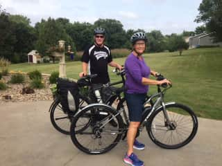 Suellen with Her Brother riding in Iowa 8/18