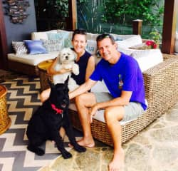 Heather and Jim with Osa and Zuki, on a house sit in the North Shore of Oahu