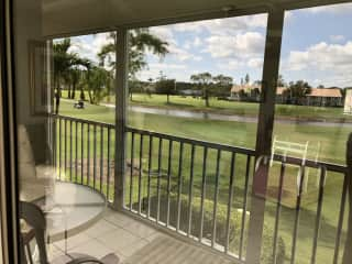 I enjoy being outdoors and am learning to golf at my neighborhood golf course. This is one of favorite views from my condo :)