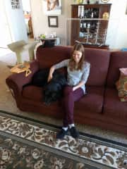 Marta relaxing with Enzo in California