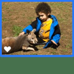 Xavier meets a kangaroo
