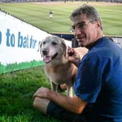 Tom and Omaha at a minor league baseball game