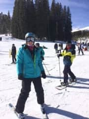 Skiing in Colorado while my family snowboards