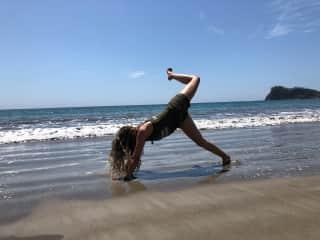 A little yoga on the beach