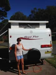 Lesley with the van