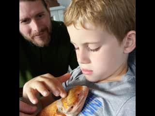 Bonding with the bearded dragon.