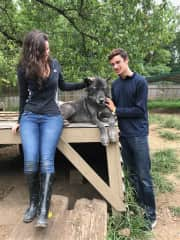 My two eldest at a Wolf sanctuary. Not our pet of course, but we all love dogs!
