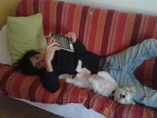 Reading time with Bobby in London, UK (2017)