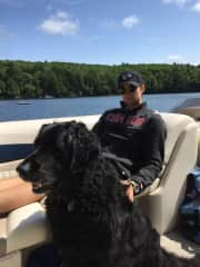 Neil enjoying some sun with Ted - Hailey's Godparents dog who absolutely adores us and our company