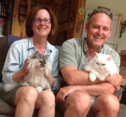 With my husband and our cats Bella and Donna, Nova Scotia