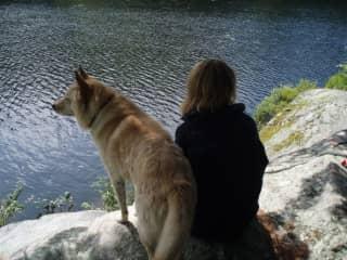 Scraps and Fiona at Crocker Pond, Maine