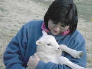 Andrea with one of our lambs.