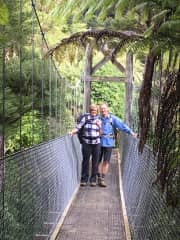 Robyne & John hiking Queen Charlotte sound, New Zealand