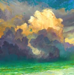 Andrew's oil painting of the Florida clouds