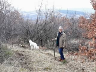 Sue with 'Lucy' in the Bulgarian countryside