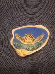 Sea turtle painted on shell.