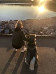 Kristina watching the sunset with Sadie in Nashville, TN
