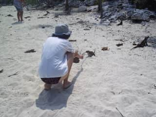 This is Dee with iguanas in The Bahamas