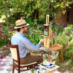 Painting away outdoors! Breathing in those spring blossoms.