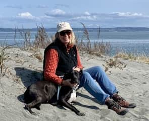April 2019 on the beach in PT with sweet rescue, Baker.