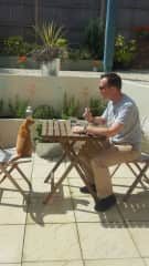 Mark (eating lunch) and Henderson