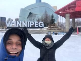 Ken and Laureen loving winter in Winnipeg